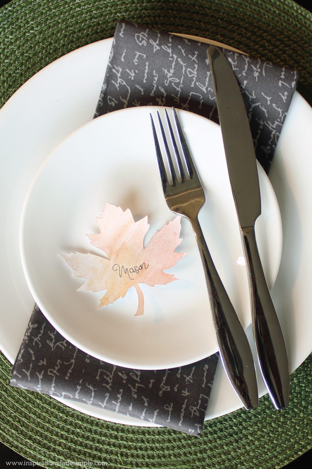 Simple DIY Watercolor Leaf Place Setting Card