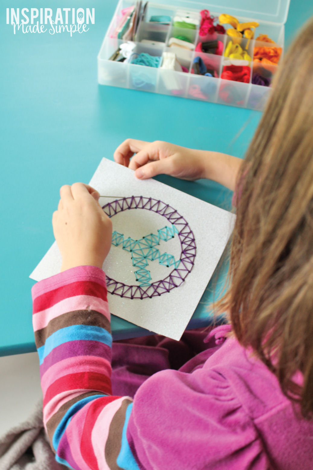 Easy Kids Stitched String Art Idea