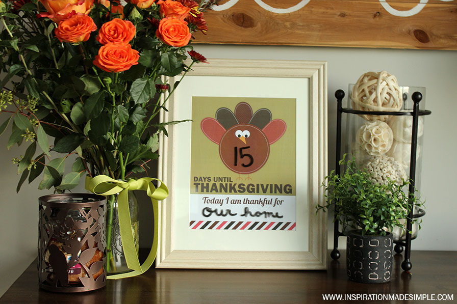 Printable Thanksgiving Countdown - keep track of how many days until the big feast and reflect each day on what you and your family are grateful for!