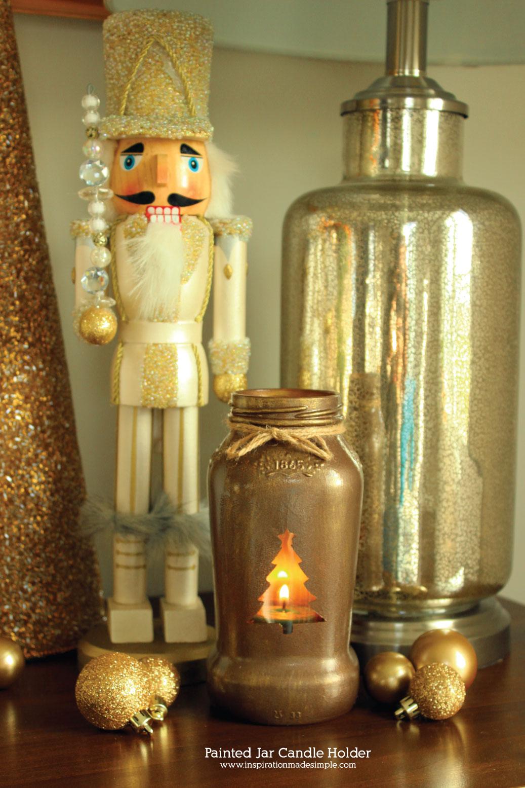 DIY Christmas Jar Candle Holder