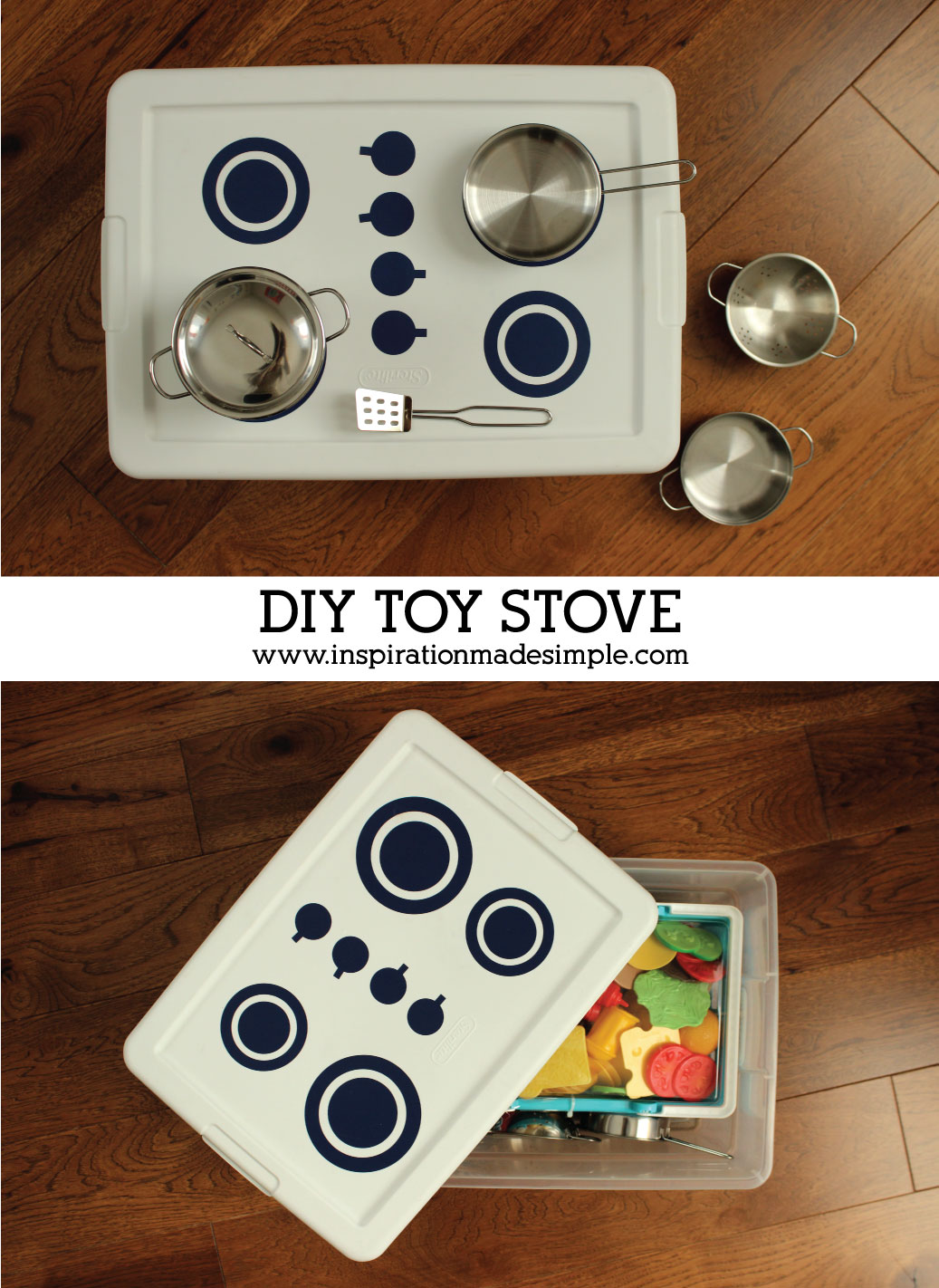 DIY Play Tote Stove Idea