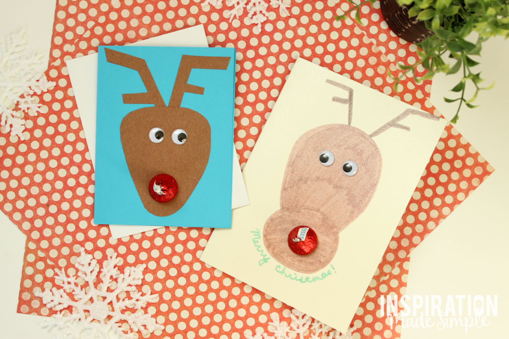 DIY Hershey Kiss Reindeer Holiday Card