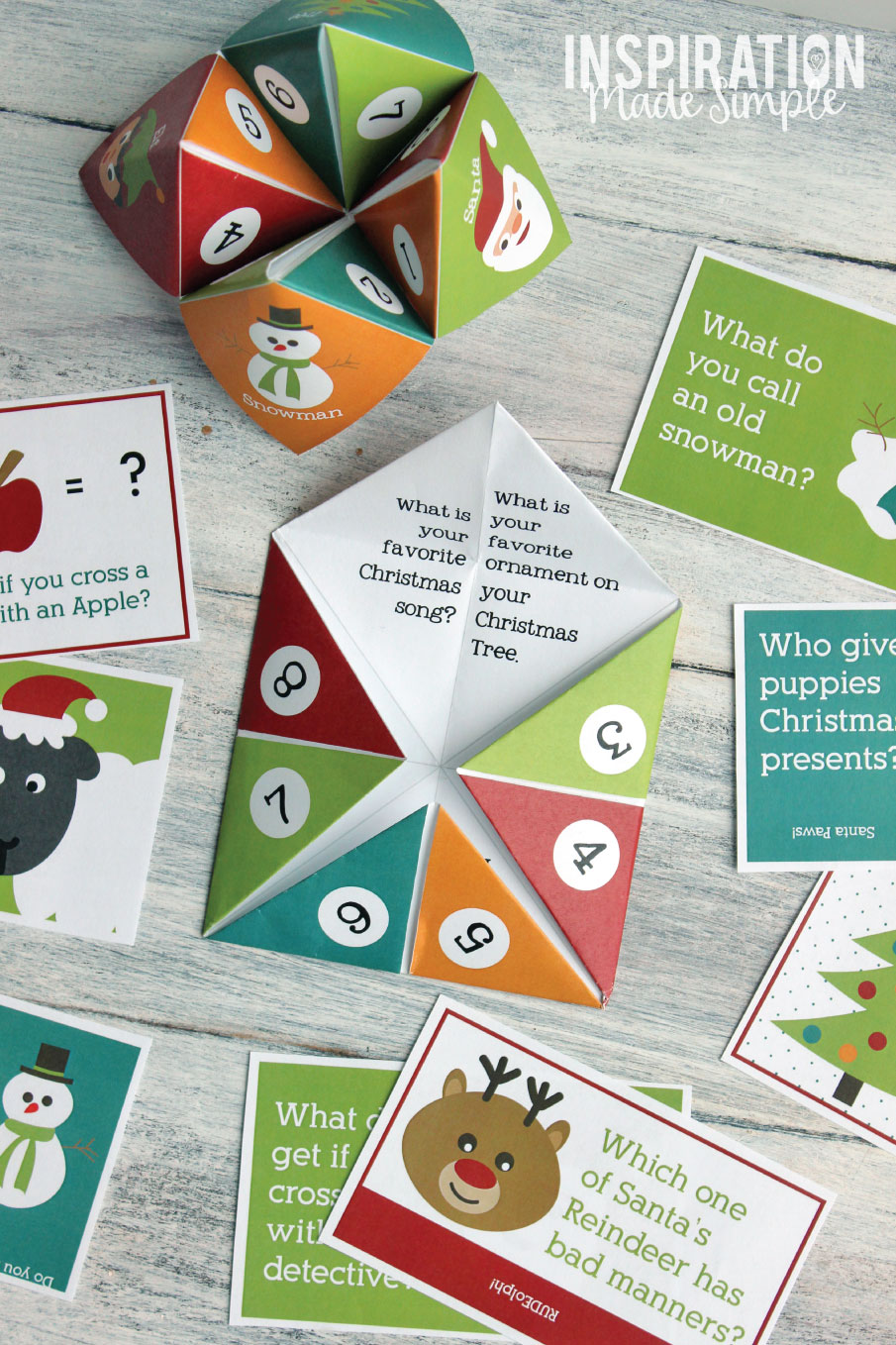 Printable Christmas Themed Cootie Catcher - one pre-filled, one blank plus bonus Christmas Lunch Jokes! Great Holiday conversation starter!