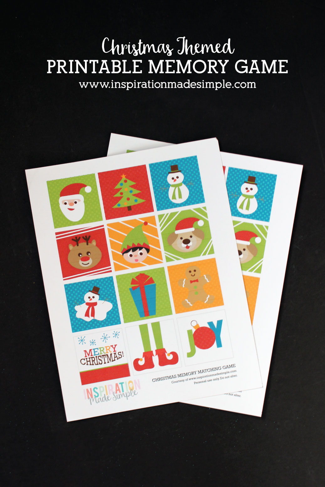 DIY Printable Christmas Memory Matching Game - fun activity for kids!