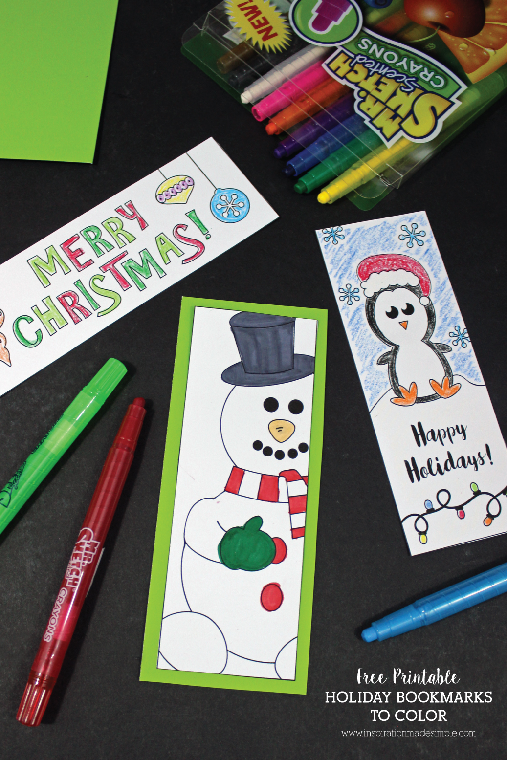 Free Printable Holiday Bookmarks to Color - make great gift tags too!