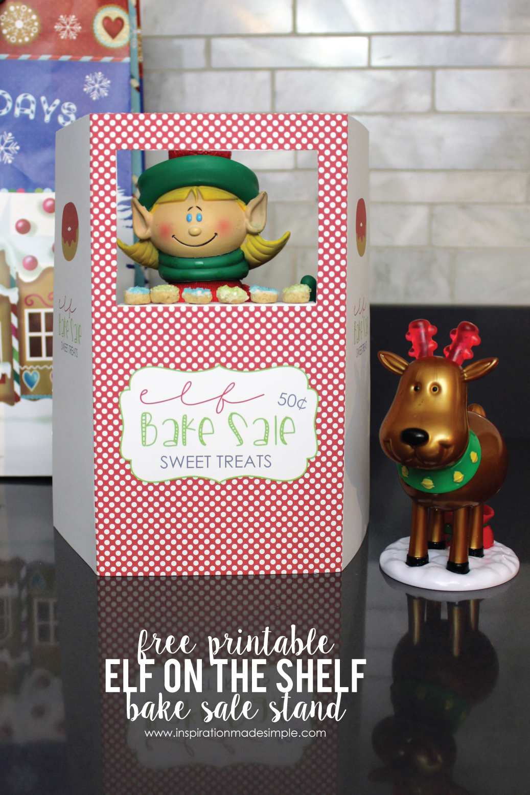 "Free Printable Elf on the Shelf Bake Sale Stand - add some delicious ""Cheerios"" Donuts to complete the stand!"