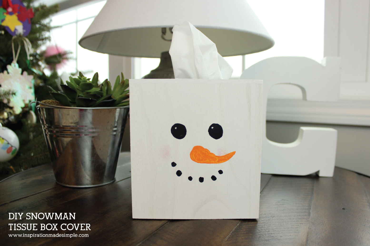 Snowman Tissue Box Cover Kids Craft