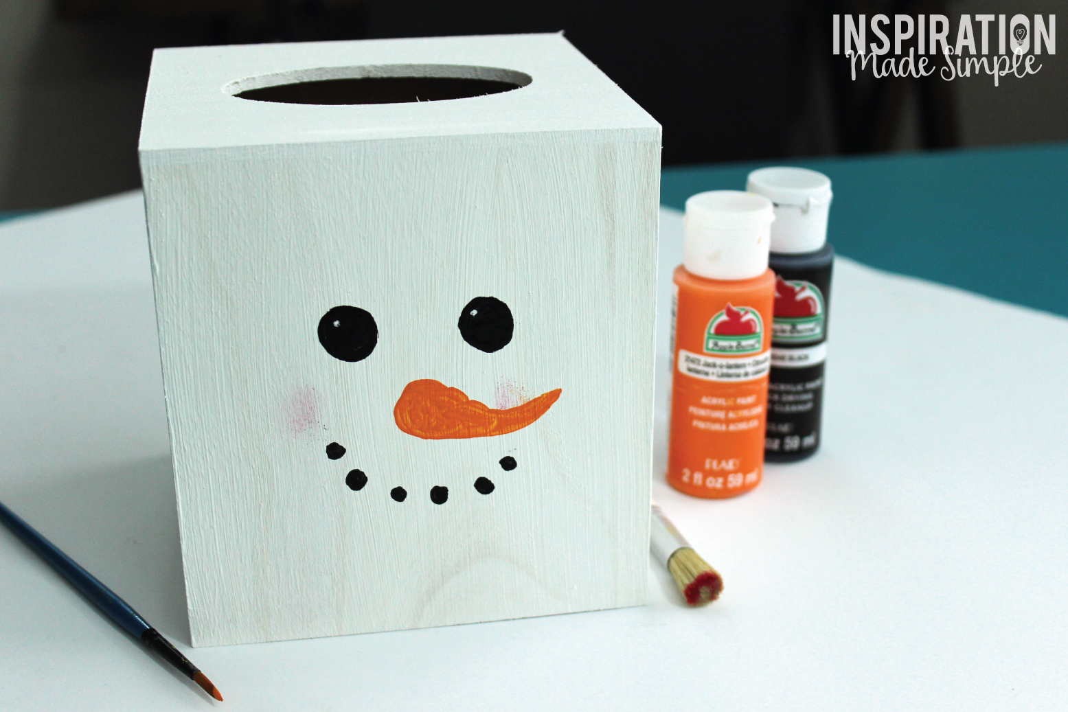 Simple and inexpensive DIY Snowman Tissue Box Cover Kids Craft