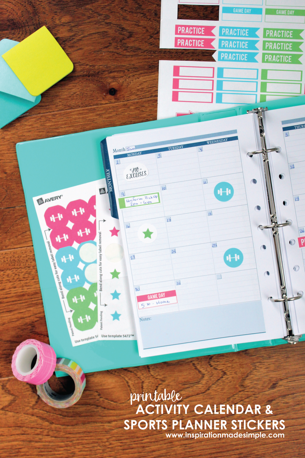 Printable Kids Activity Calendar and Sports Planner Stickers