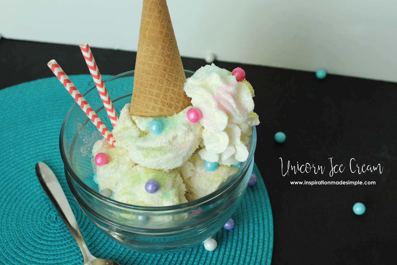 Super simple, yet totally delicious, Unicorn Ice Cream!