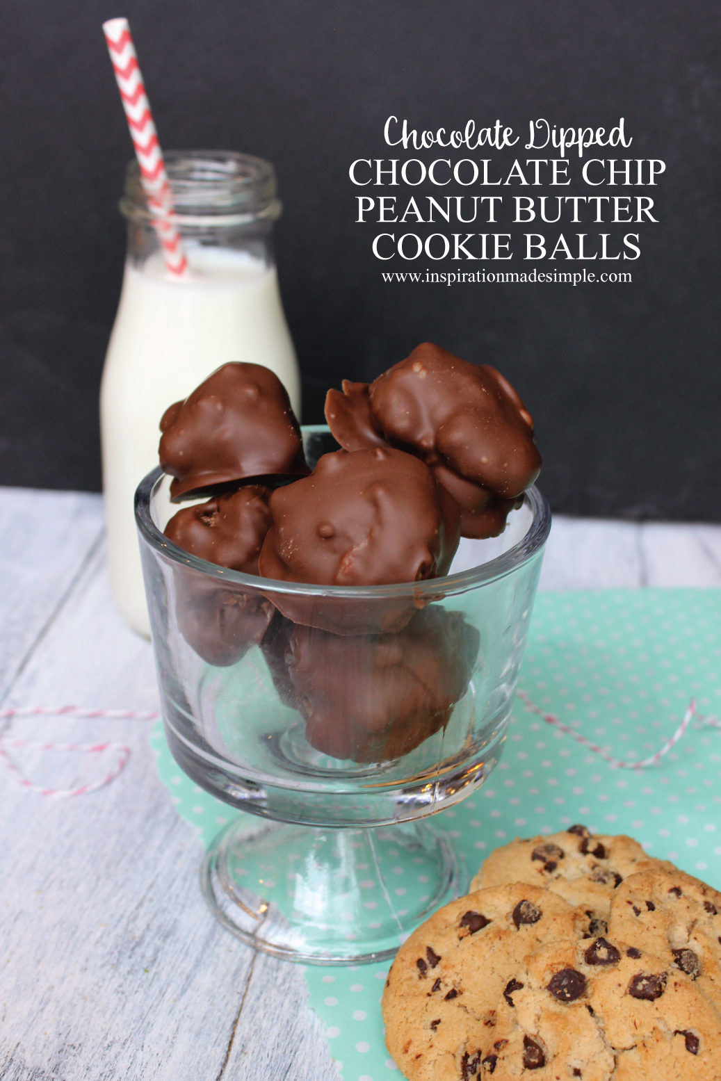 Chocolate Dipped Chocolate Chip Peanut Butter Cookie Balls