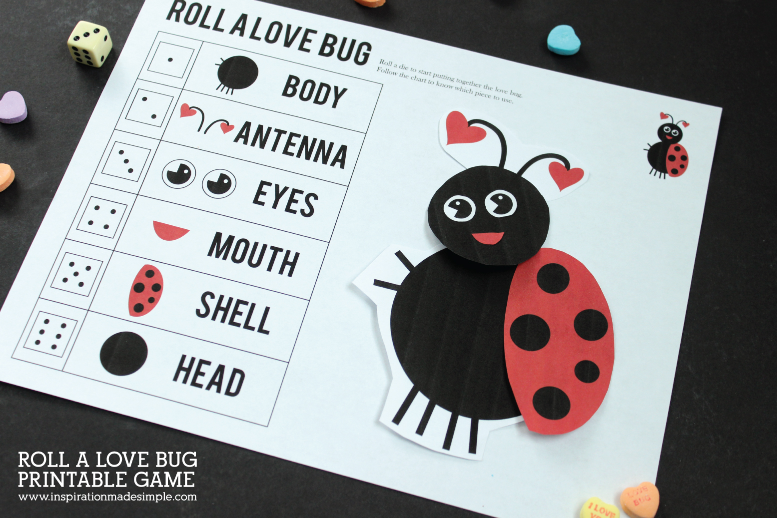Roll-a-Love Bug Printable Children's Game