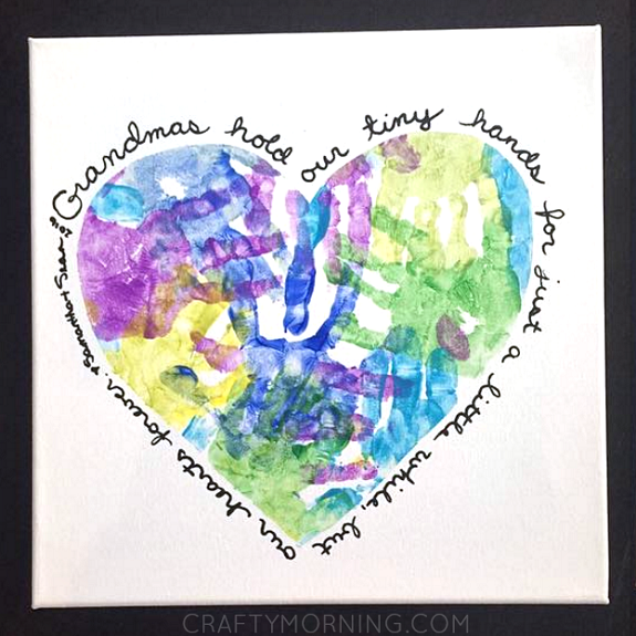 Creatively Thoughful Mother's Day Gift Ideas: Heart Handprint Canvas