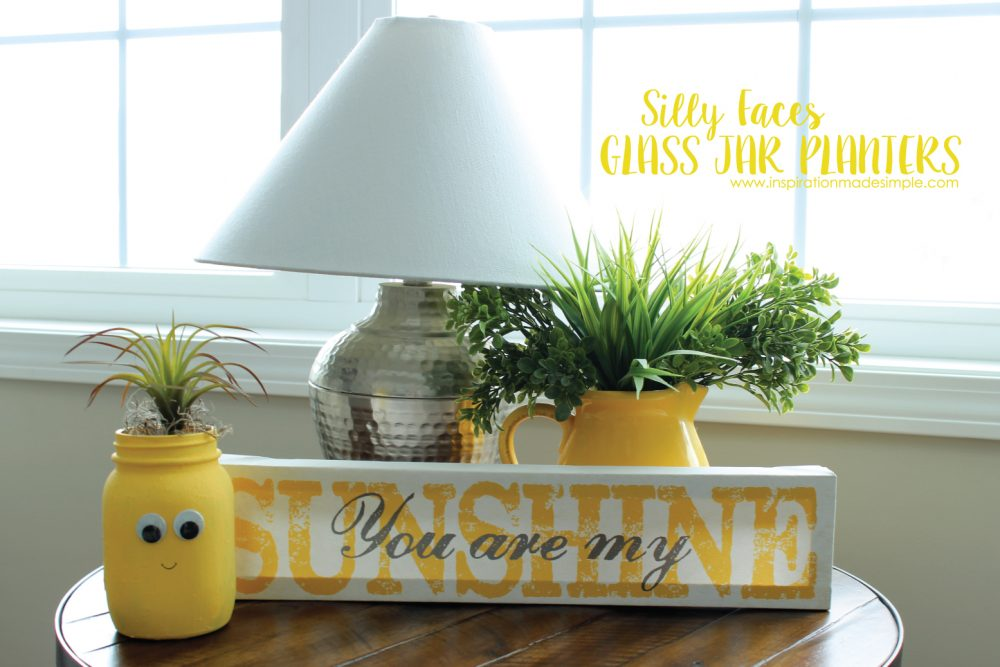 DIY Silly Faces Glass Jar Planters Kids Craft