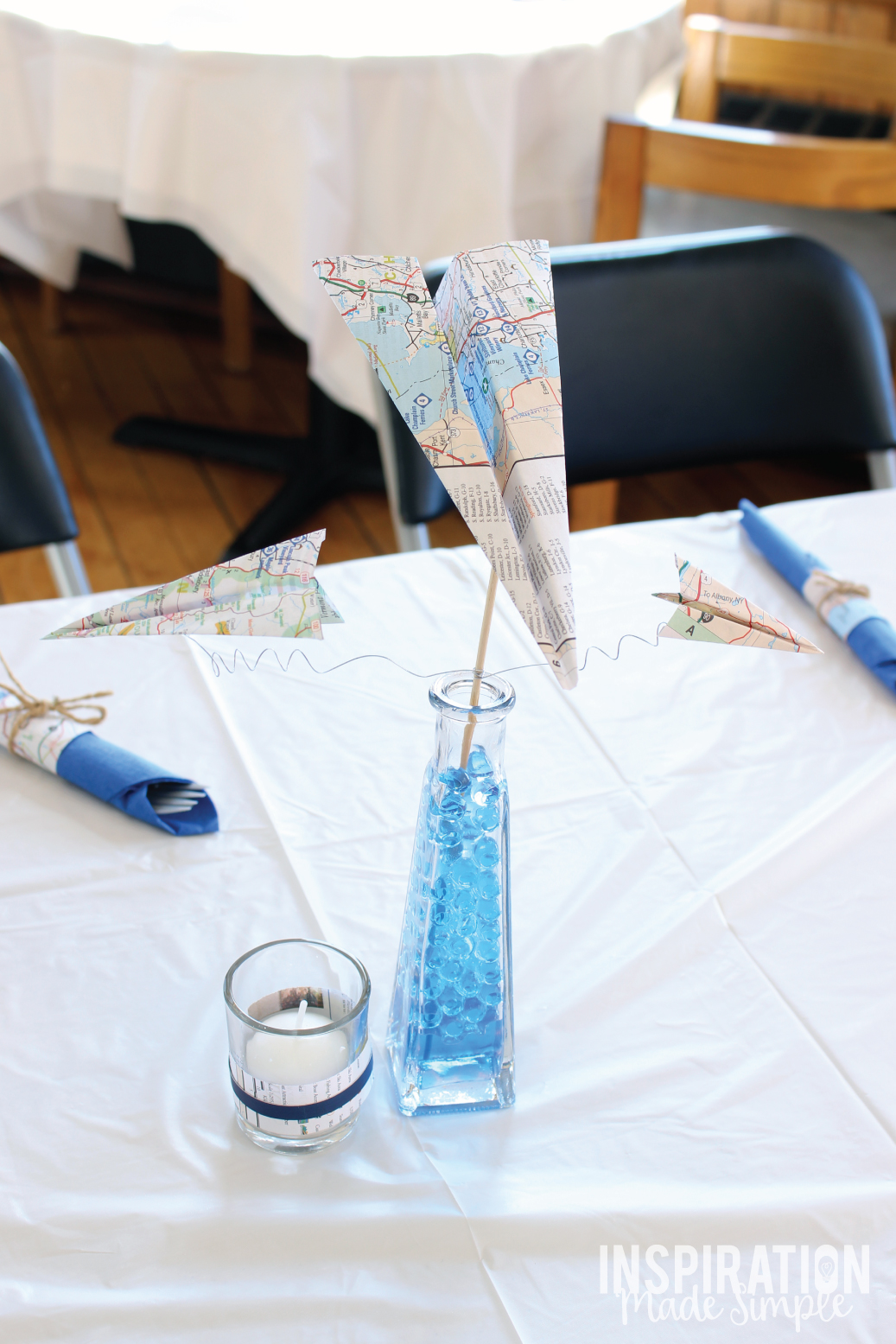 Simple Map Paper Airplane Centerpieces