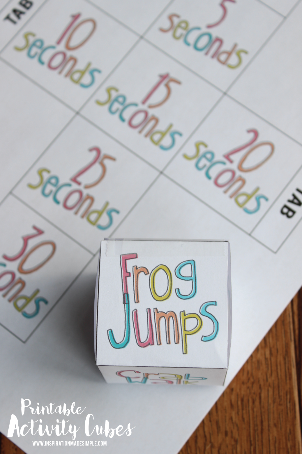 Printable Activity Cubes to get kids up and moving!