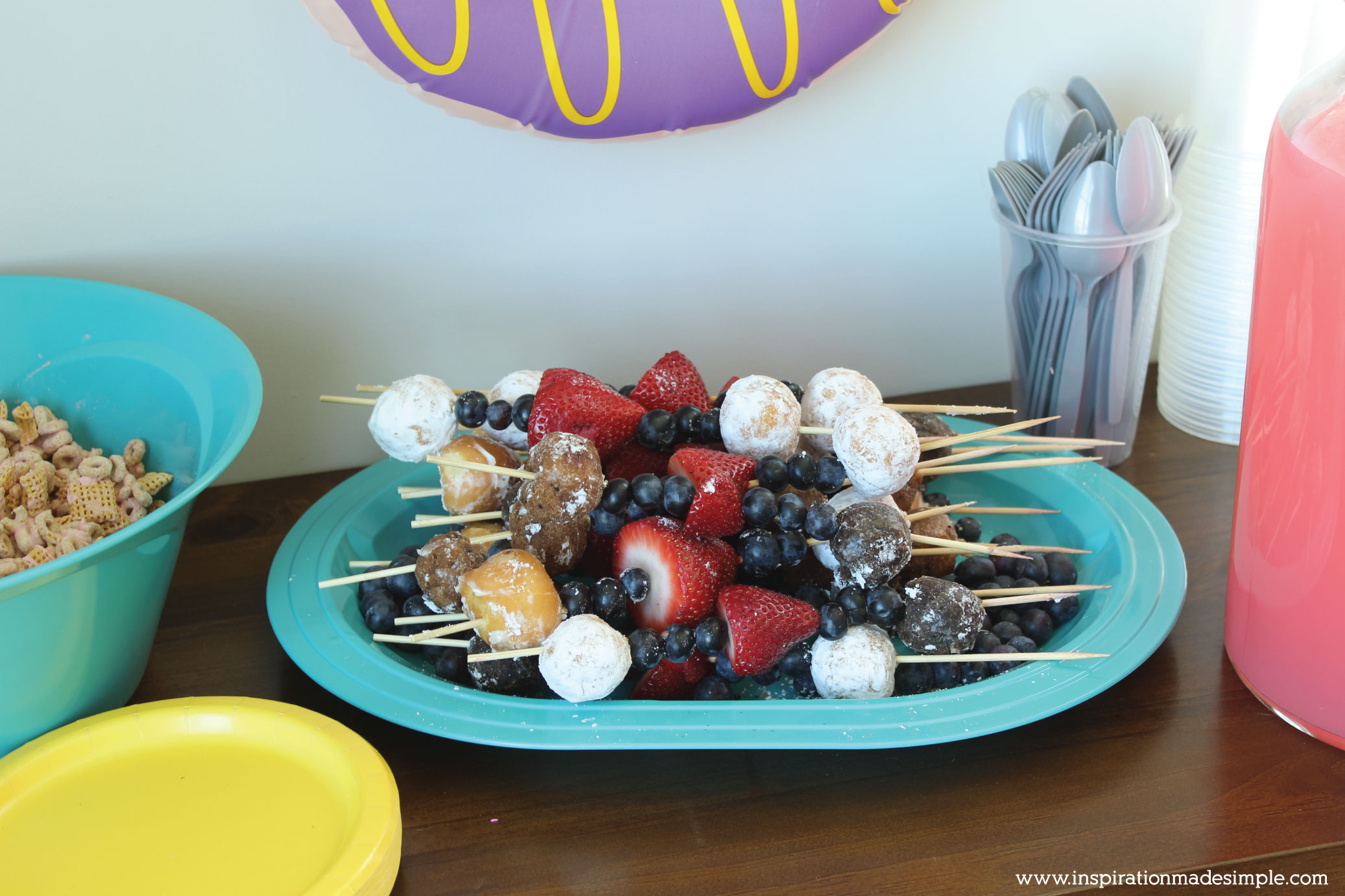DIY Donut Birthday Party Treats - Donut Kabobs