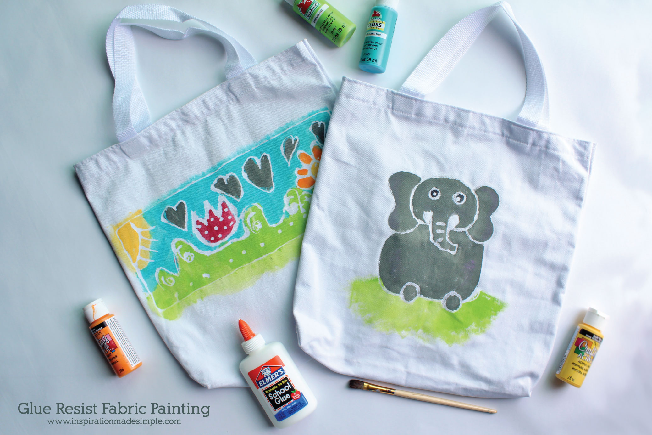 Glue Resist Fabric Painting Kids Craft Tutorial
