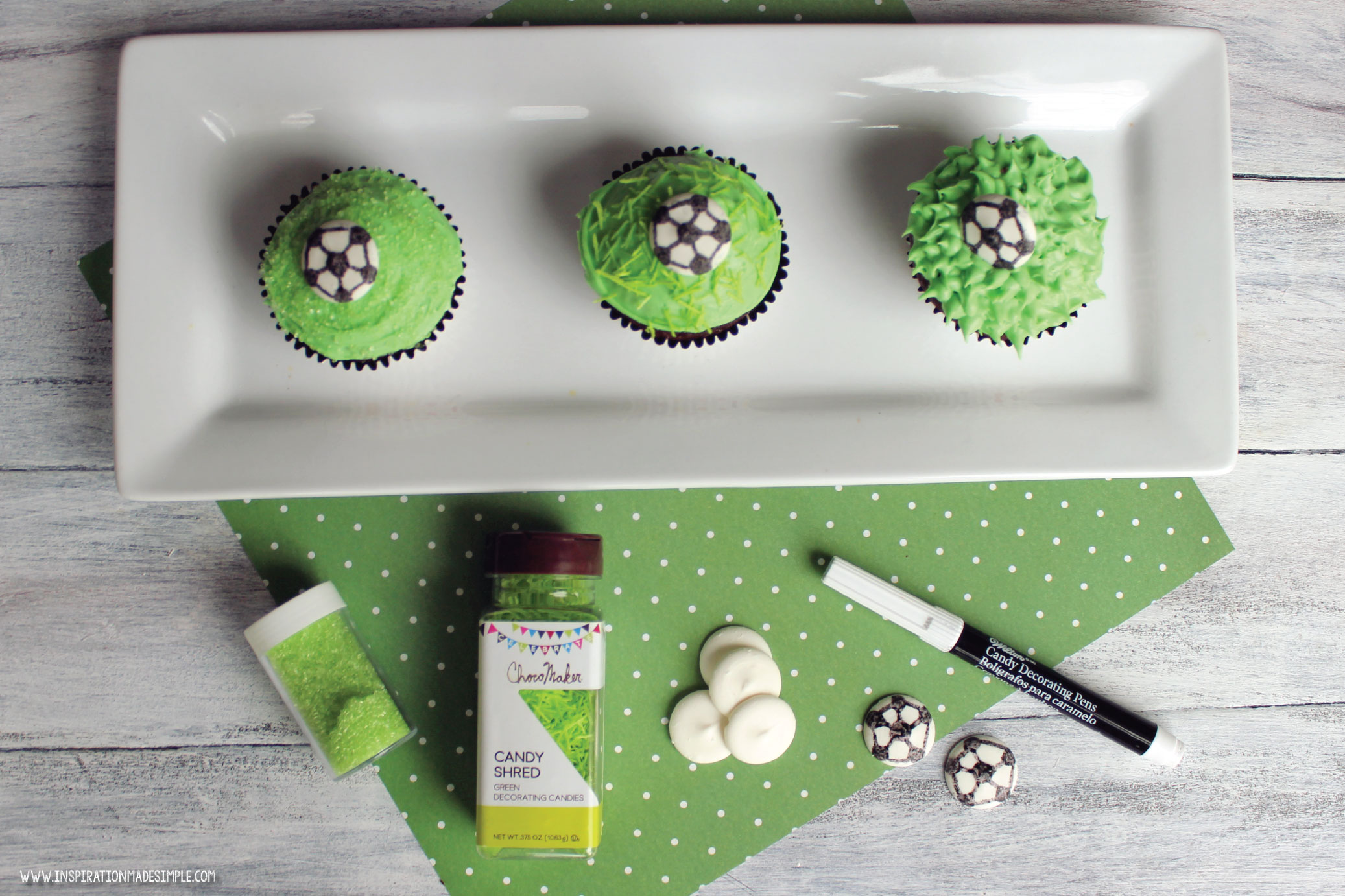 DIY Soccer Cupcakes with Candy Melt Soccer Balls
