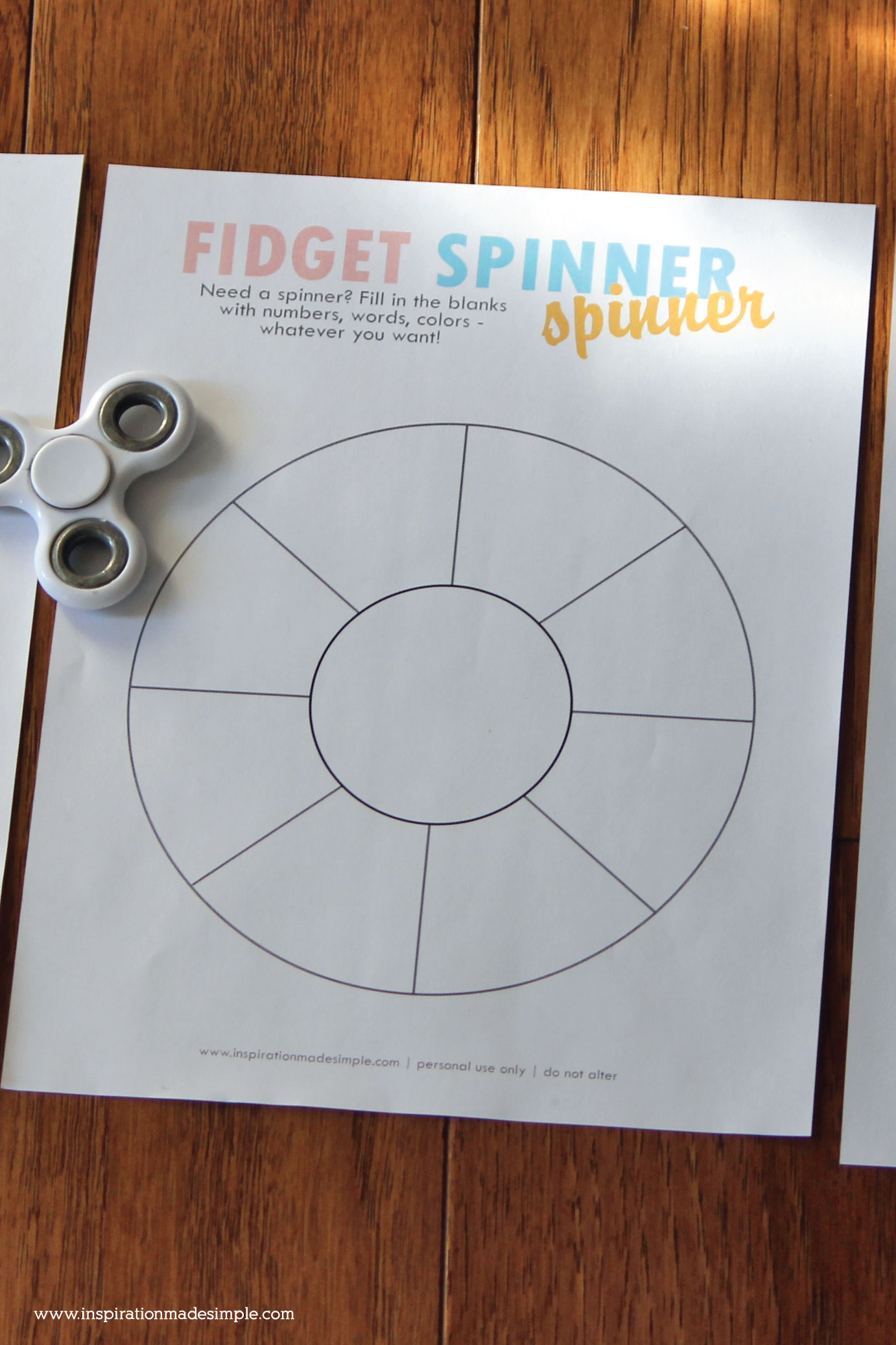 Turn your fidget spinner into a game spinner - fill the blank spots however you like and give it a spin!