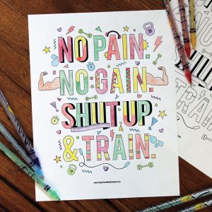No Pain. No Gain. Coloring Page