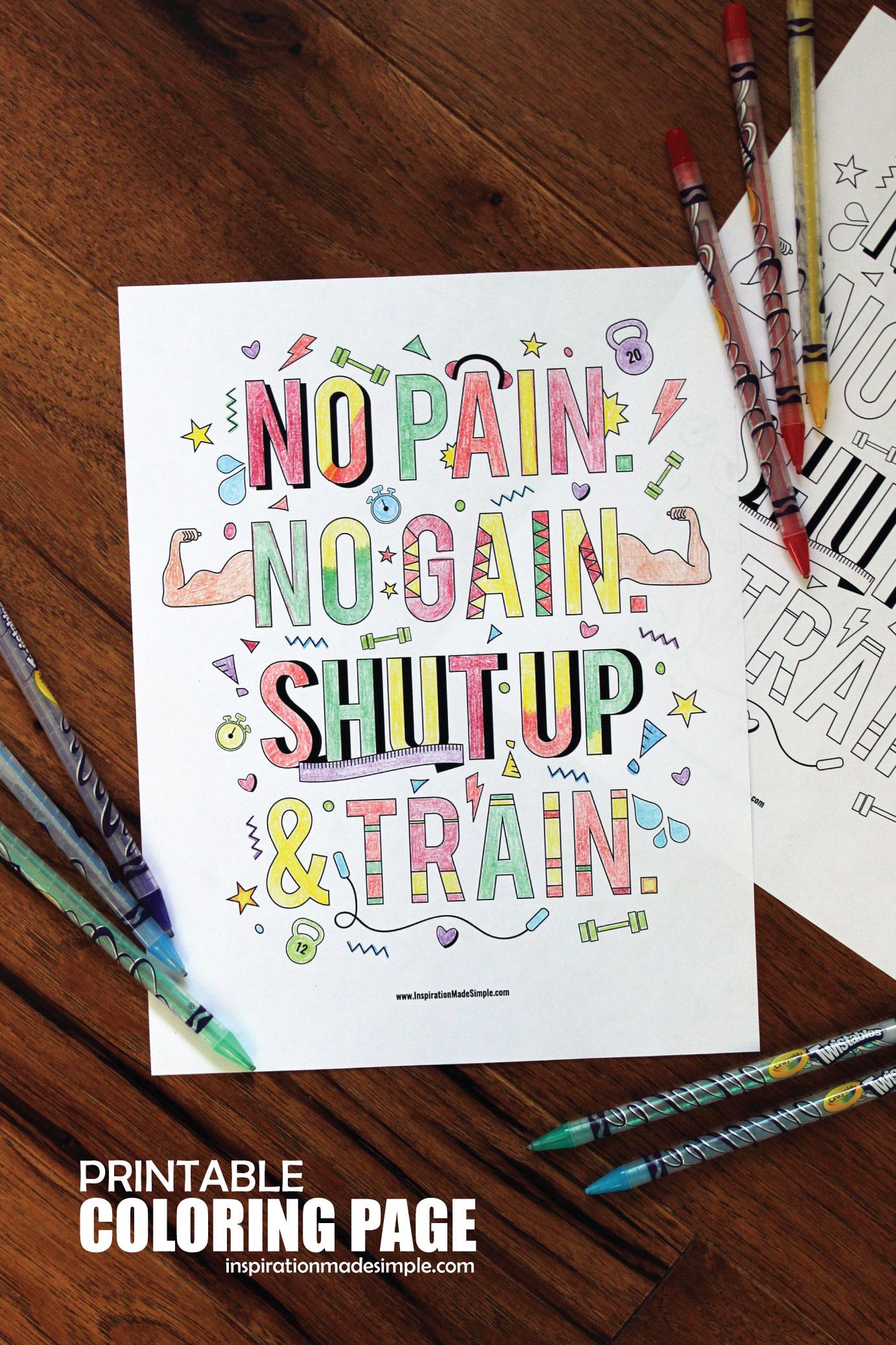 No Pain. No Gain. Coloring Page