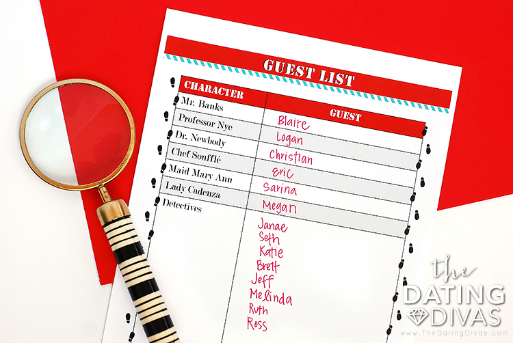 Host's Guide – to make party planning a breeze. Invitations – includes both a paper and a digital version! Name Tags – to identify each unique character. Character Role Cards – give your guests a character background. Suspect, Location and Weapon Cards – to determine the crime committed. Room Labels – for the designated suspect areas. Detective Clue Sheets – to assist the detectives in solving the crime. Character Introduction Cards – for introductions at the party. Host Check List – to keep track of your party preparations. Guest List – to organize your guests and assign characters. Top Secret Envelope Labels – where the suspect's clues will be revealed.