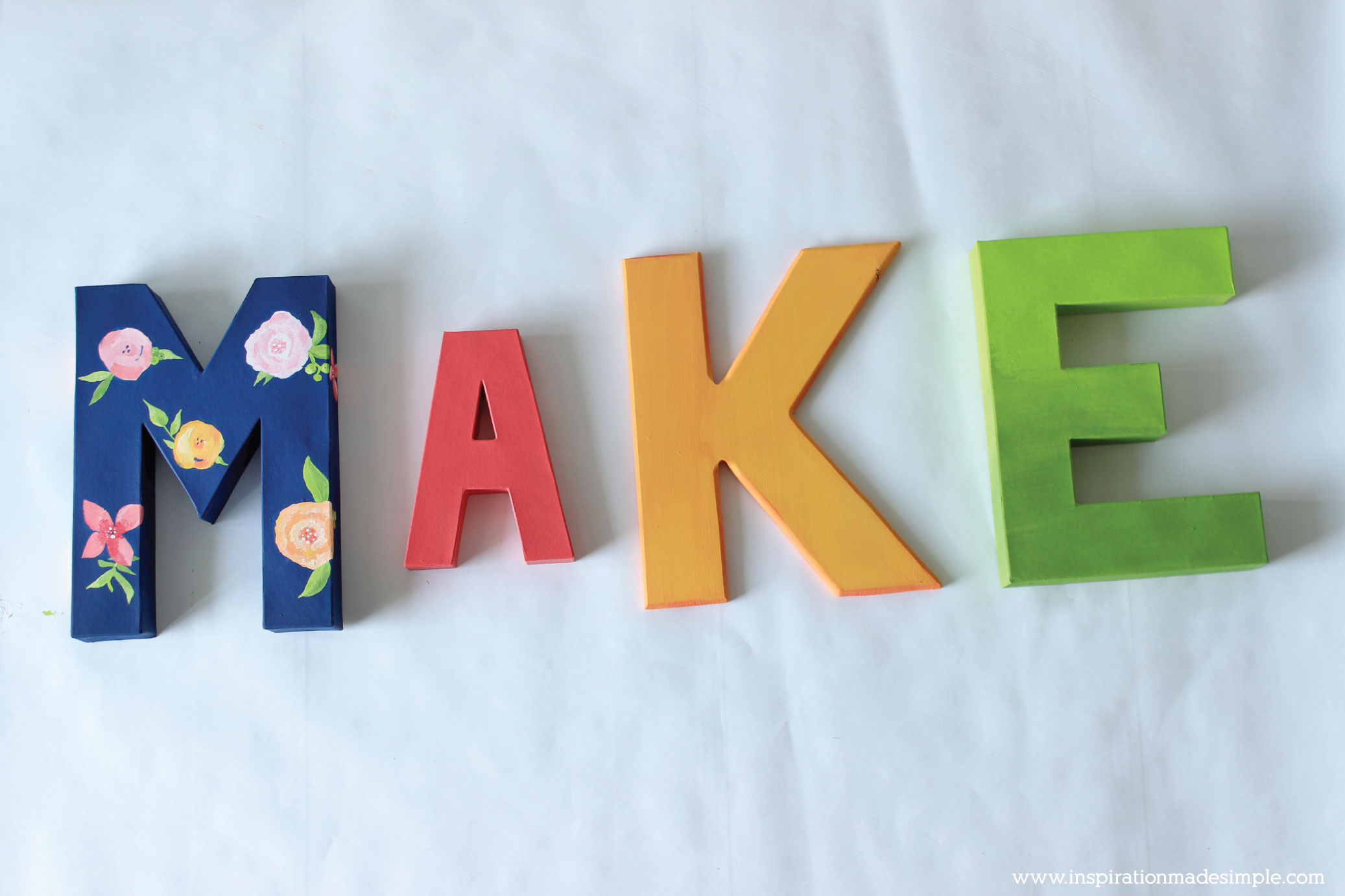 DIY Painted Letters - Navy Blue with Floral