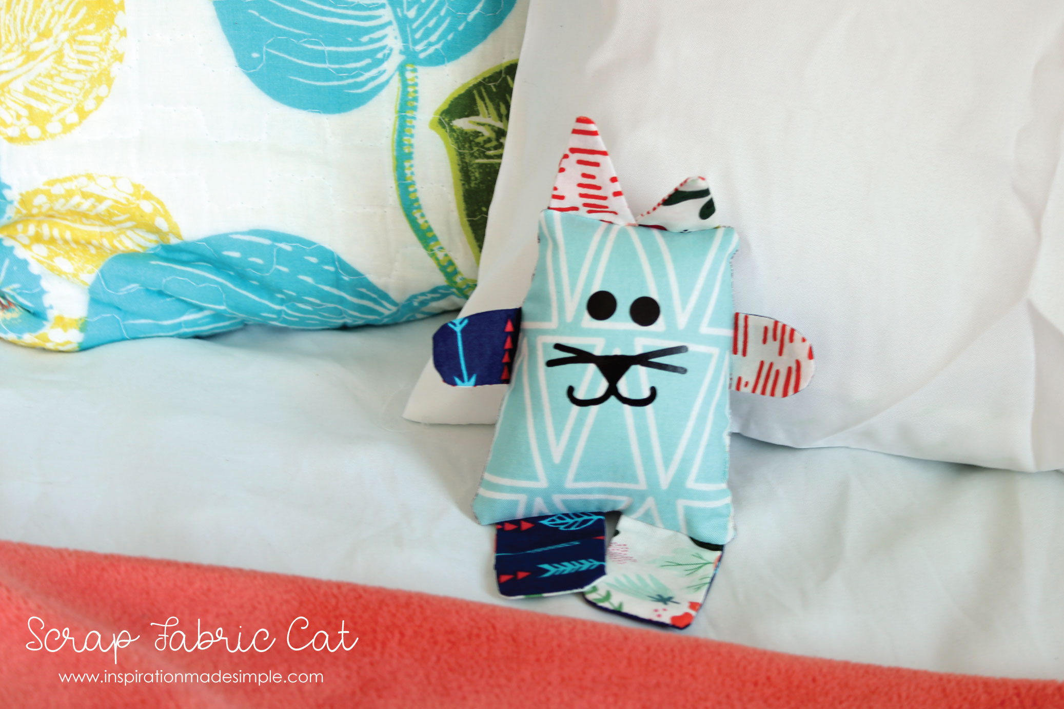 DIY Scrap Fabric Cat with SVG Cut File or PDF Pattern
