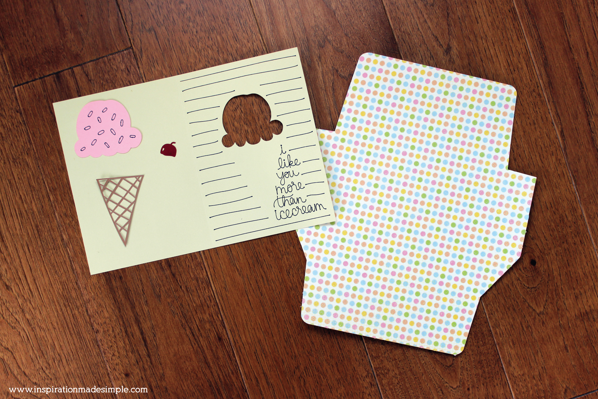 I like you more than ice cream DIY Greeting Card