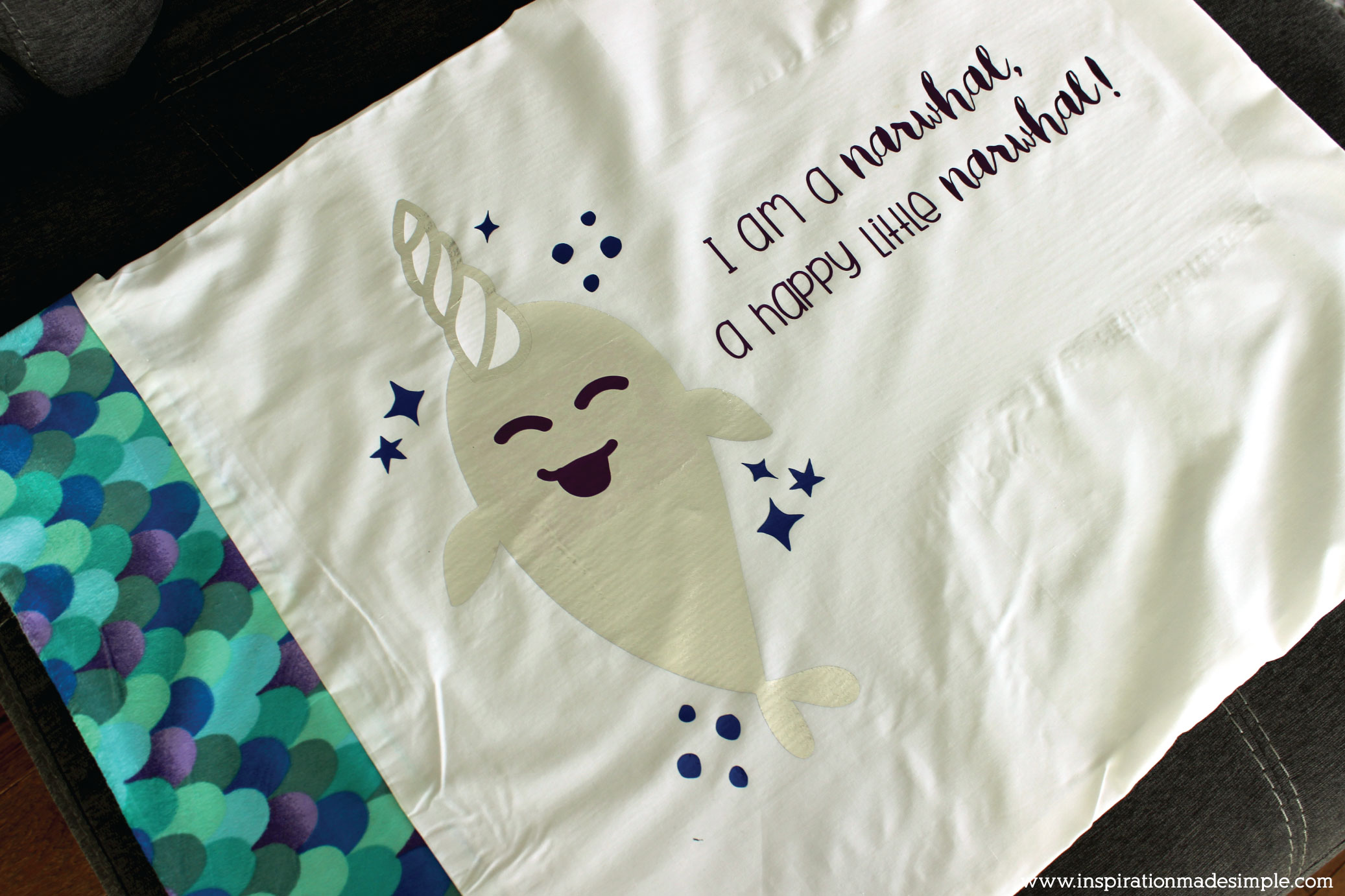Happy Little Narwhal DIY Pillowcase