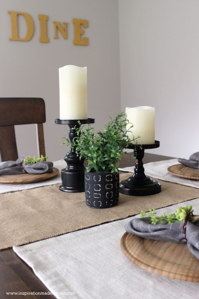 Rustic Dining Tablescape with Pillar Candle Holders
