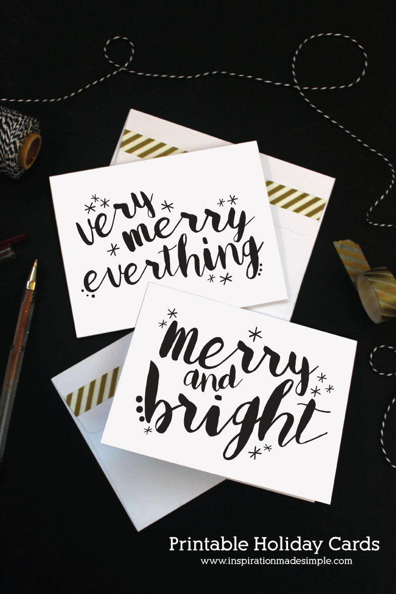 Gorgeous printable holiday cards