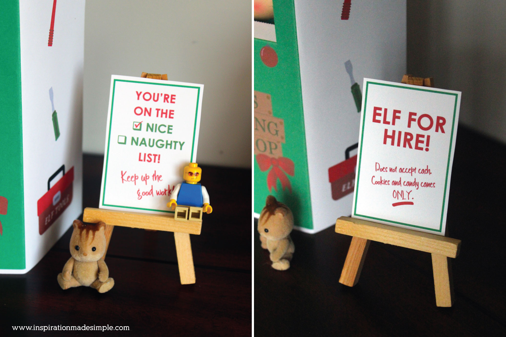 Santa's Traveling Workshop Printable Booth with 4 fun signs for Elf on the Shelf