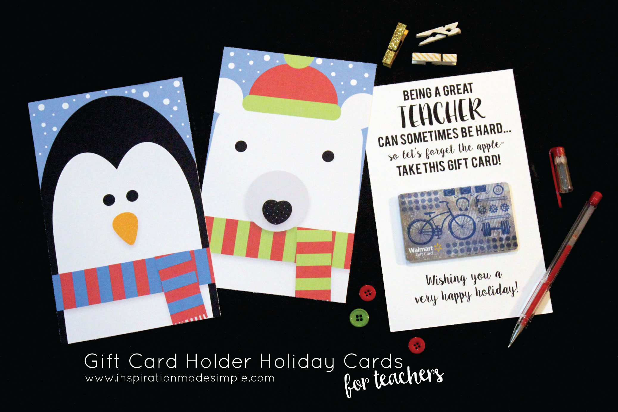 Printable Gift Card Holder Holiday Cards for Teachers