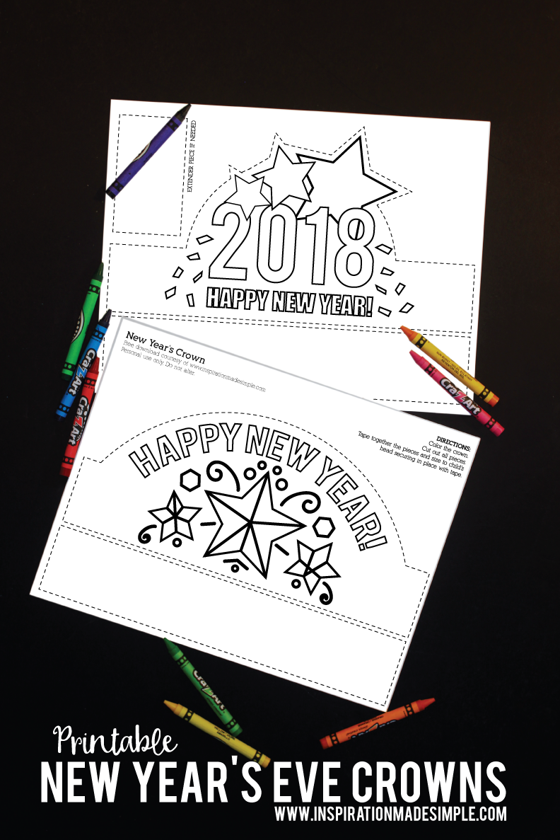 Printable New Year Eve's Coloring Crown Kids Craft