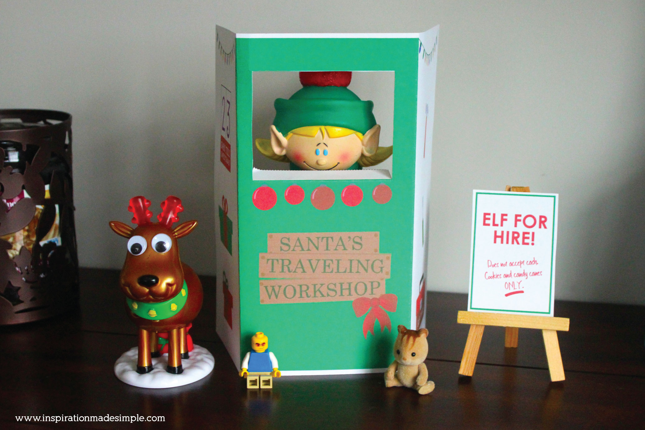 Elf on the Shelf Santa's Traveling Workshop Printable Booth with 4 fun signs