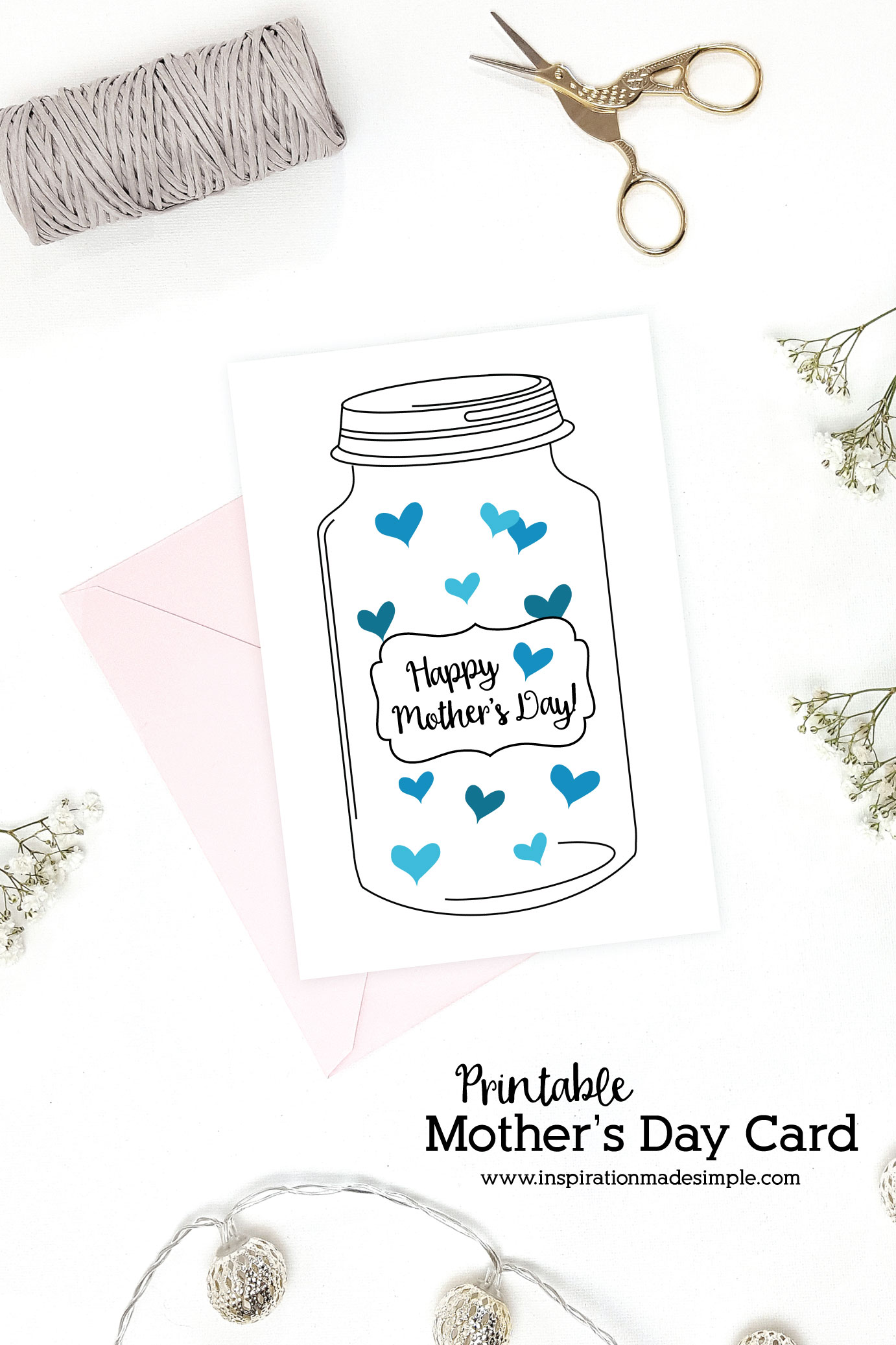 picture regarding Printable Mothers Day Pictures called Mason Jar Moms Working day Card - Drive Created Very simple