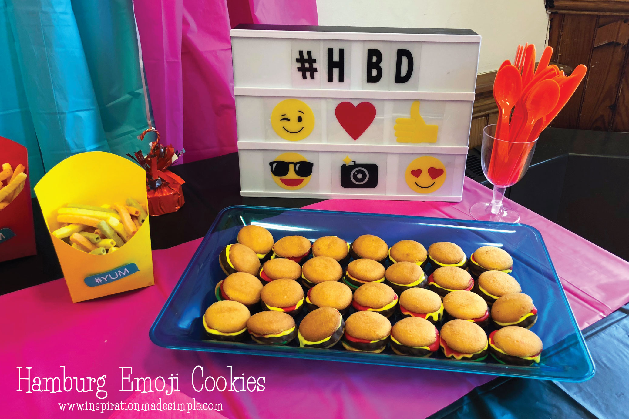 Hamburger Emoji Cookies for an Emoji Paint and Sip Party for Kids