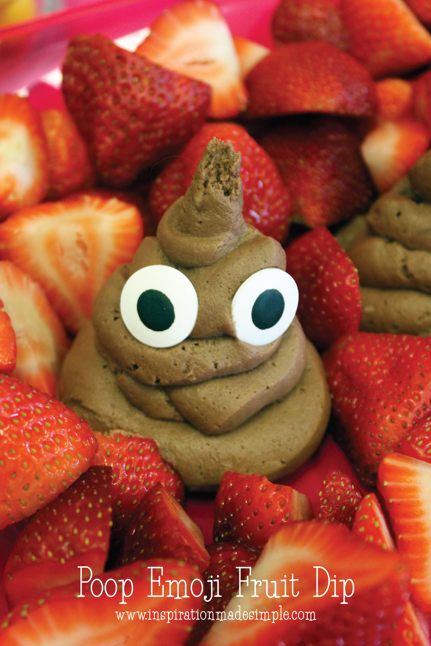 Poop Emoji Fruit Dip for a Emoji Paint and Sip Party for Kids
