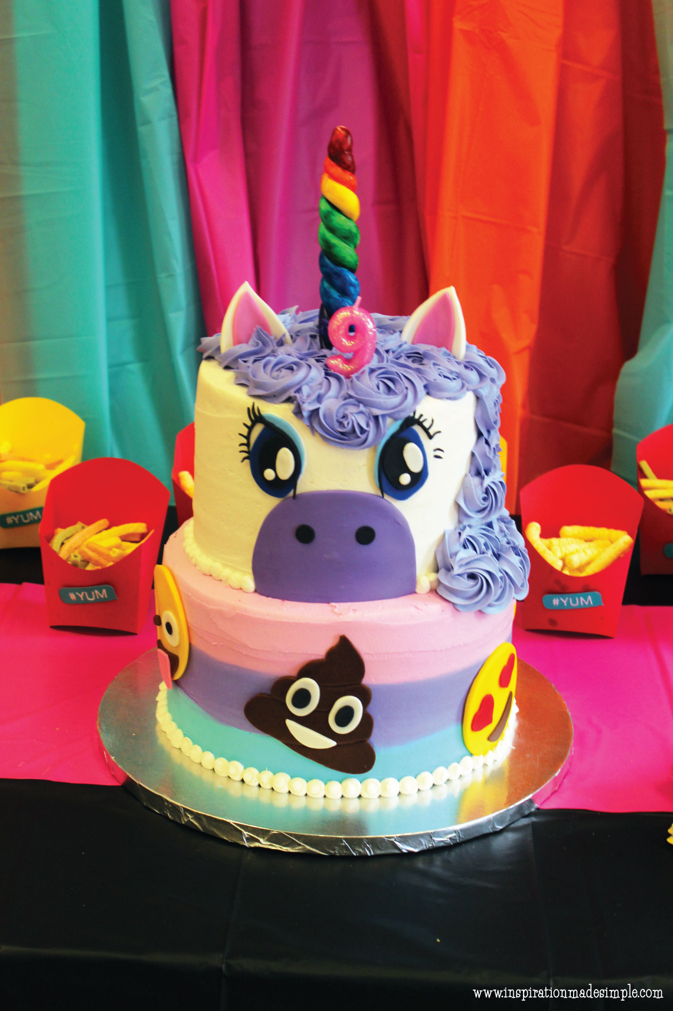Emoji Unicorn Cake for an Emoji Paint and Sip Party for Kids