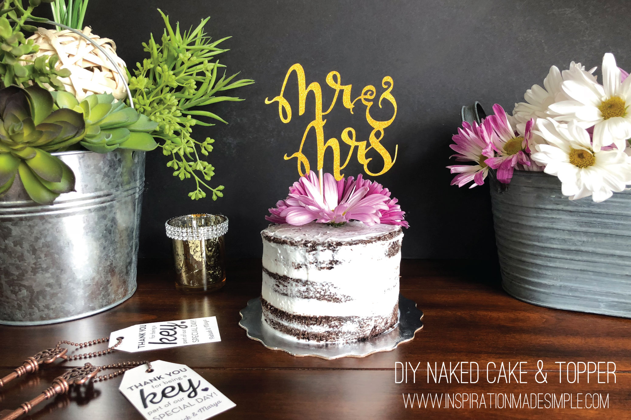 DIY Naked Cake & Wedding Topper