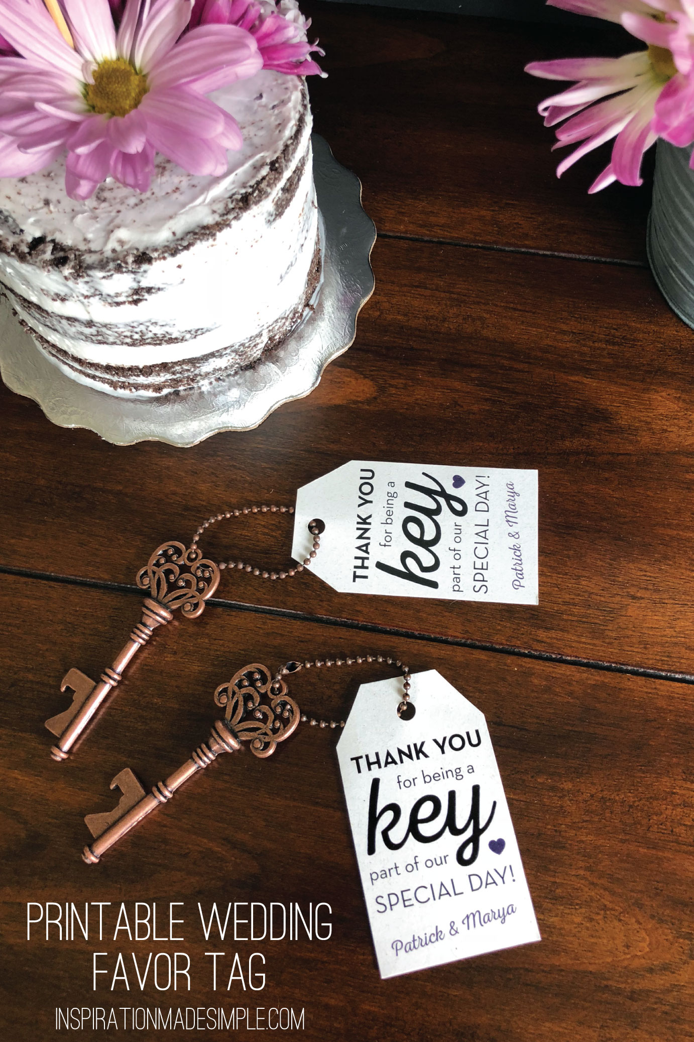 Key Bottle Opener Wedding Favor Idea with Printable Favor Tag