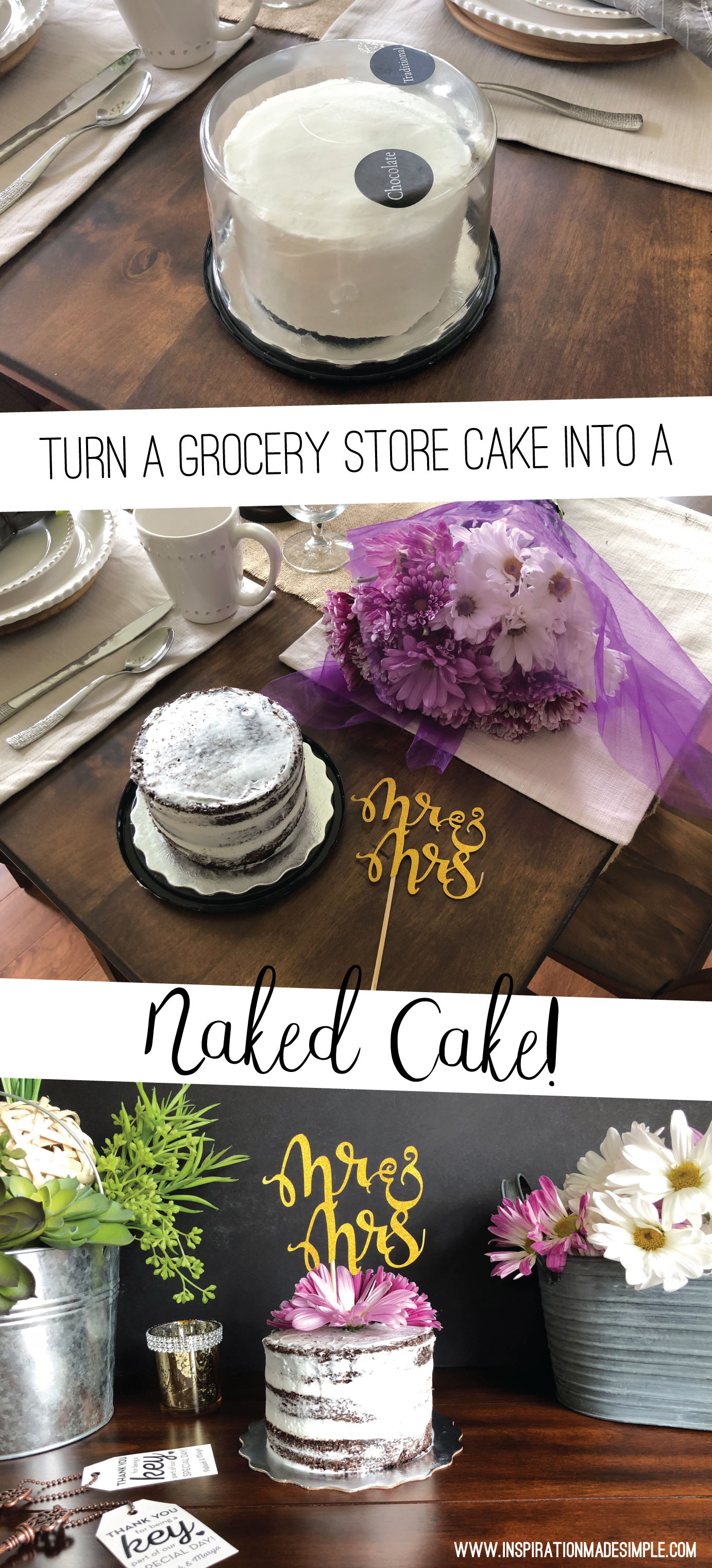 Turn a grocery store cake into a naked cake!