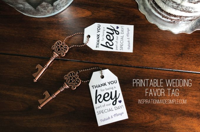 Printable Favor Tag for a Key Bottle Opener