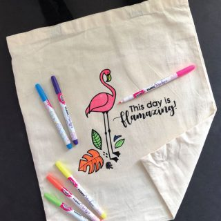 DIY Flamingo Coloring Tote Bag