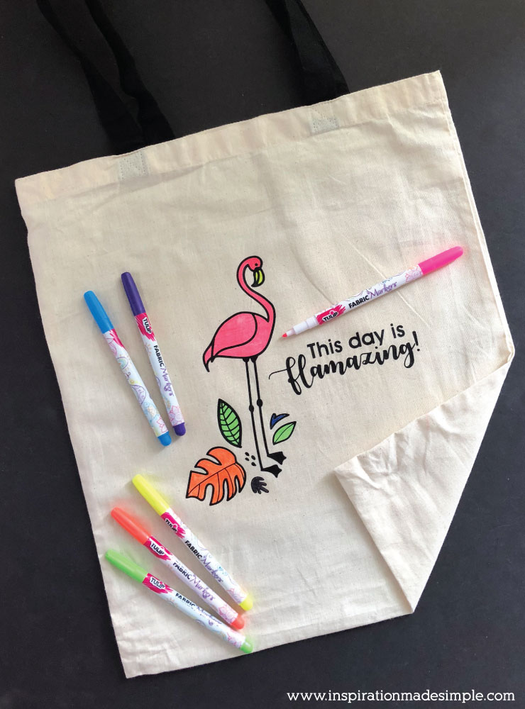 DIY Flamingo Coloring Tote