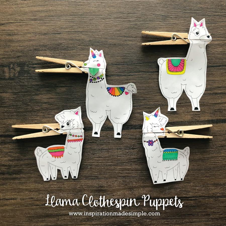 Llama Clothespin Puppets