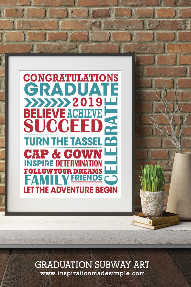 Graduation Subway Art Gift Idea - Place the subway art in a matted frame and display at a Graduation Party. Have all of the guests sign the matte as a fun keepsake for the graduate!