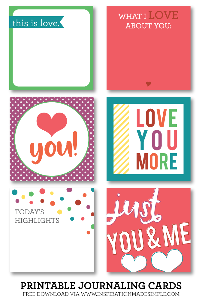 Loved themed printable journaling cards